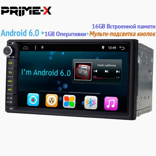 2din Магнитола Prime-X A6 универсальная Android 6,0